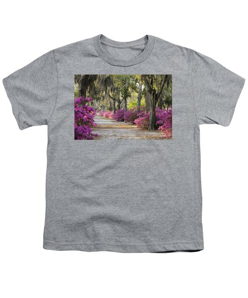 Unpaved Road With Azaleas And Oaks Youth T-Shirt