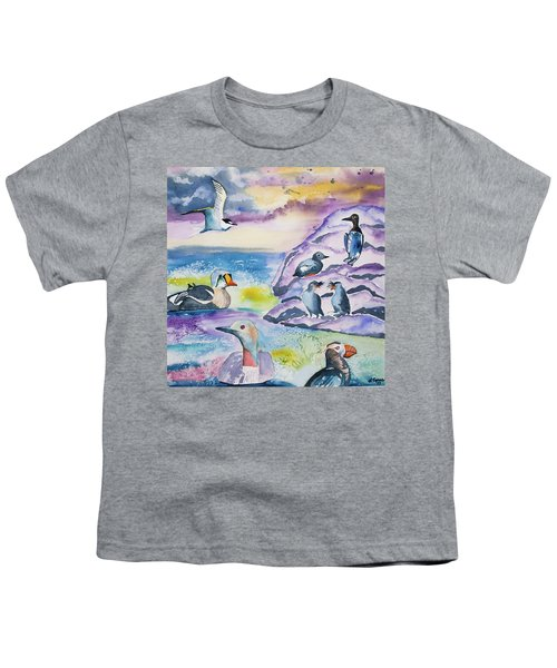 Watercolor - Alaska Seabird Gathering Youth T-Shirt
