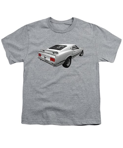 White '69 Mach 1 In Black And White Youth T-Shirt