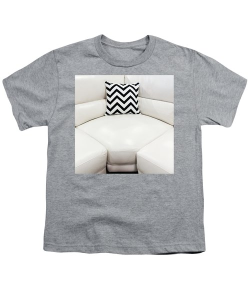 White Leather Sofa With Decorative Cushion Youth T-Shirt