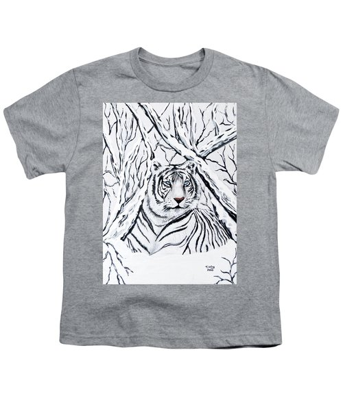 White Tiger Blending In Youth T-Shirt by Teresa Wing