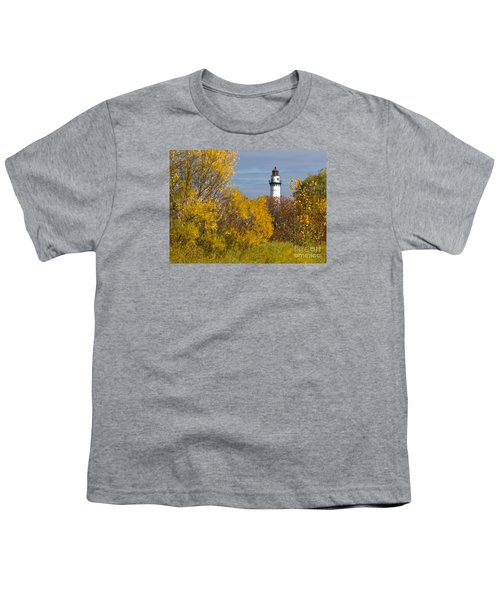 Youth T-Shirt featuring the photograph Wind Point Lighthouse In Fall by Ricky L Jones
