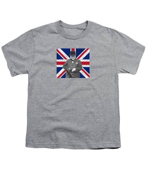 Winston Churchill And His Flag Youth T-Shirt by War Is Hell Store