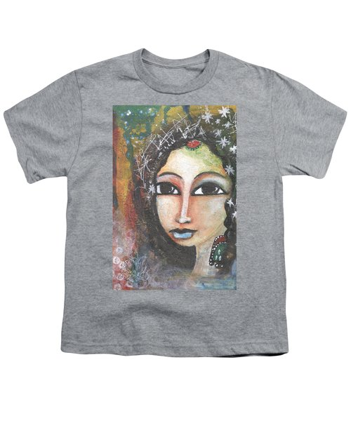 Youth T-Shirt featuring the mixed media Woman - Indian by Prerna Poojara