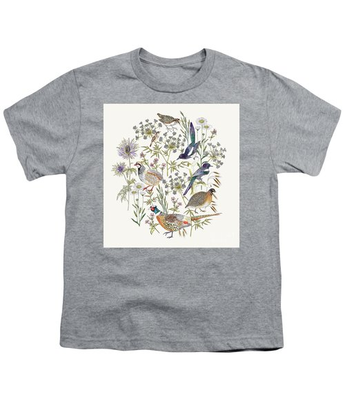 Woodland Edge Birds Placement Youth T-Shirt by Jacqueline Colley