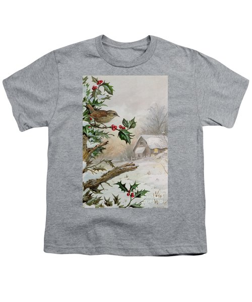 Wren In Hollybush By A Cottage Youth T-Shirt by Carl Donner