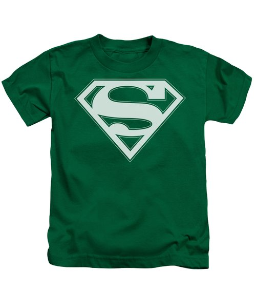 Superman - Green And White Shield Kids T-Shirt