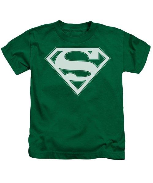 Superman - Green And White Shield Kids T-Shirt
