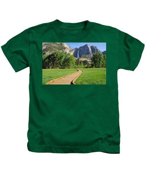 Boardwalk To Yosemite Falls  Kids T-Shirt