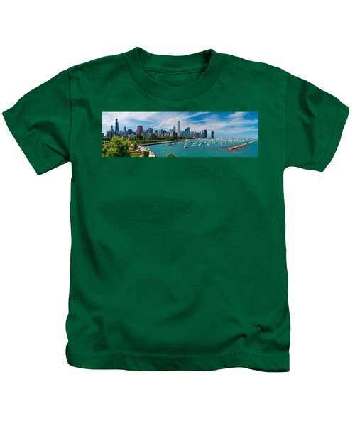 Chicago Skyline Daytime Panoramic Kids T-Shirt by Adam Romanowicz