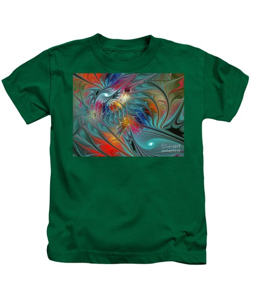 Fresh Mints And Cool Blues-abstract Fractal Art Kids T-Shirt