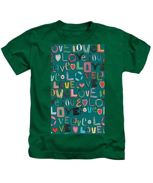 l o v e LOVE teal Kids T-Shirt