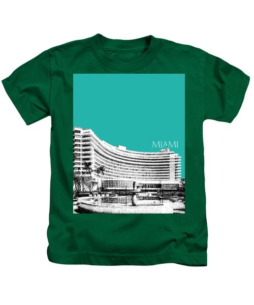 Miami Skyline Fontainebleau Hotel - Teal Kids T-Shirt