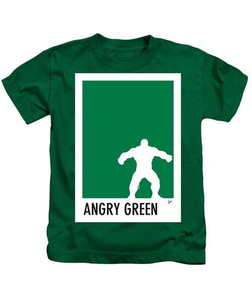 My Superhero 01 Angry Green Minimal Poster Kids T-Shirt
