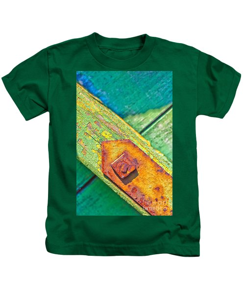Rusty Bolt On Rotten Green Wood Kids T-Shirt
