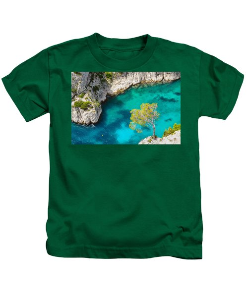 Tree On Turquoise Waters Kids T-Shirt