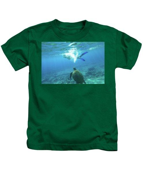 Snorkeler Female Sea Turtle Kids T-Shirt