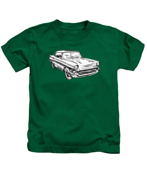 1957 Chevy Bel Air Illustration Kids T-Shirt
