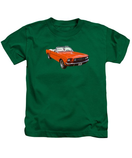 1965 Red Convertible Ford Mustang - Classic Car Kids T-Shirt