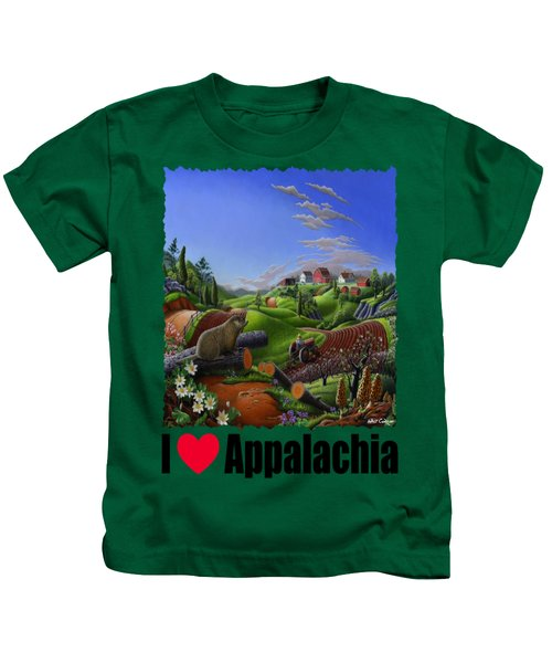 I Love Appalachia - Spring Groundhog Kids T-Shirt by Walt Curlee