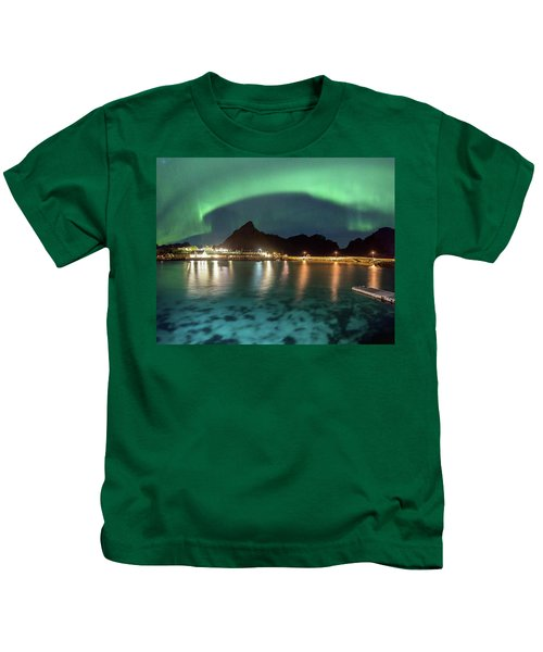 Aurora Above Turquoise Waters Kids T-Shirt