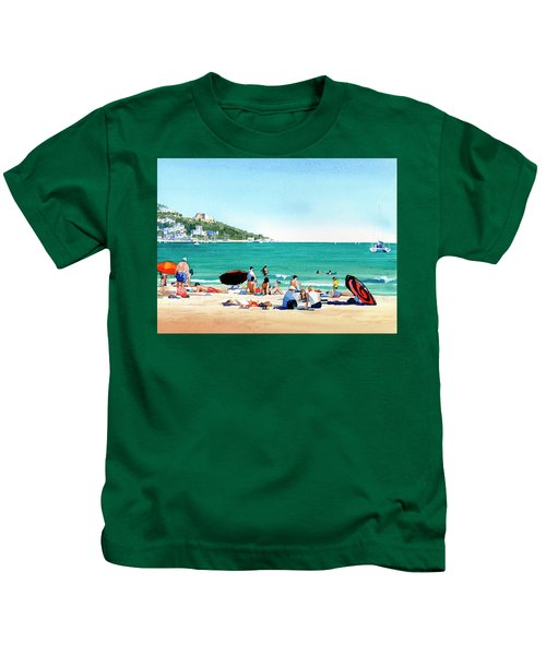 Beach At Roses, Spain Kids T-Shirt