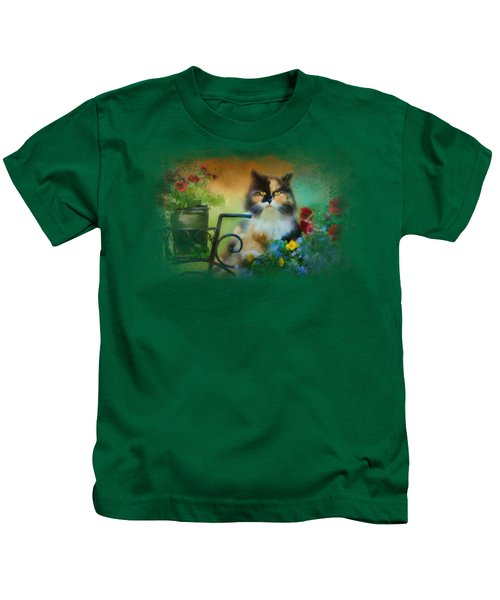 Calico In The Garden Kids T-Shirt by Jai Johnson