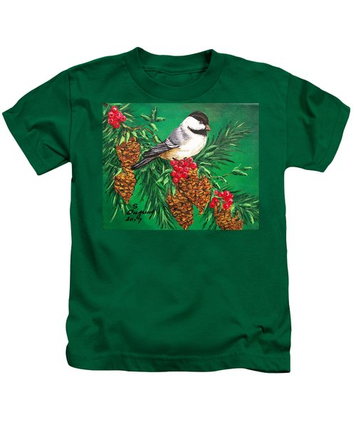 Chickadee And Pine Cones Kids T-Shirt