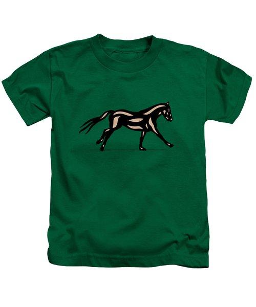 Clementine - Pop Art Horse - Black, Hazelnut, Emerald Kids T-Shirt