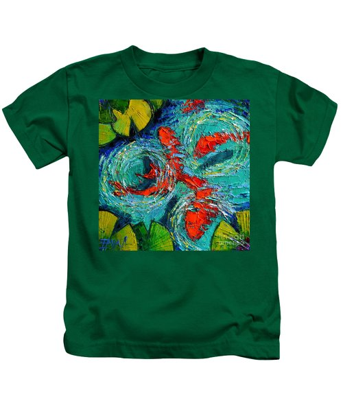 Colorful Koi Fishes In Lily Pond Kids T-Shirt