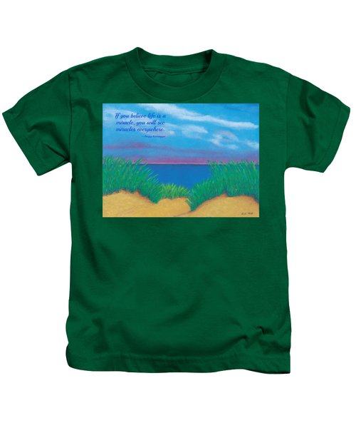 Dunes At Dawn - With Quote Kids T-Shirt