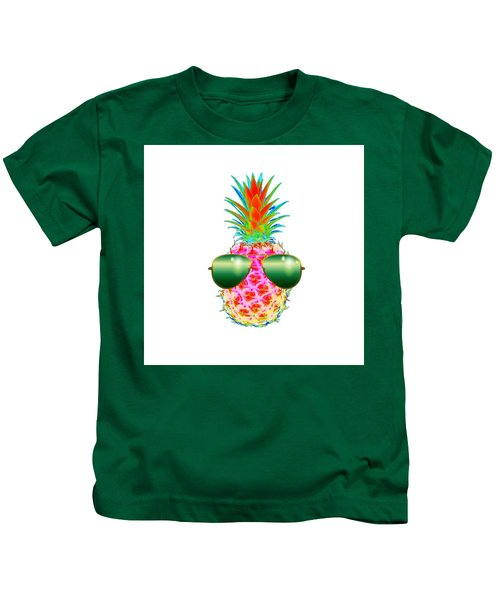 Electric Pineapple With Shades Kids T-Shirt