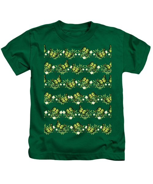 Green Butterflies Pattern Kids T-Shirt