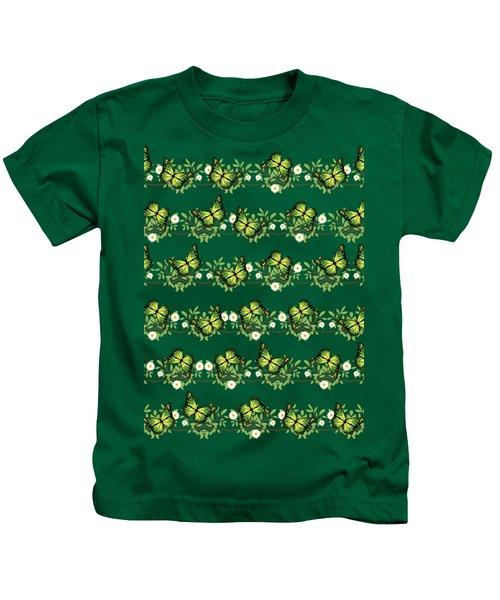 Green Butterflies Pattern Kids T-Shirt