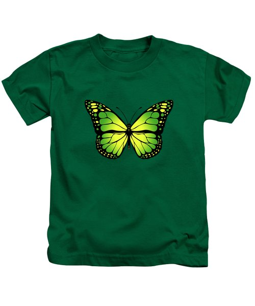 Green Butterfly Kids T-Shirt by Gaspar Avila