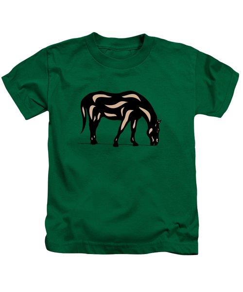 Hazel - Pop Art Horse - Black, Hazelnut, Greenery Kids T-Shirt