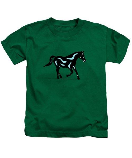 Heinrich - Pop Art Horse - Black, Island Paradise Blue, Greenery Kids T-Shirt