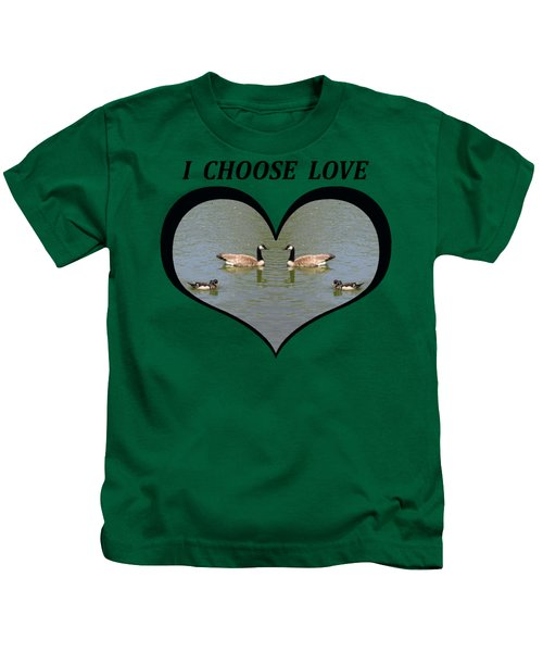 I Choose Love With A Spoonbill Duck And Geese On A Pond In A Heart Kids T-Shirt