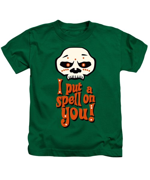 I Put A Spell On You Voodoo Retro Poster Kids T-Shirt by Monkey Crisis On Mars