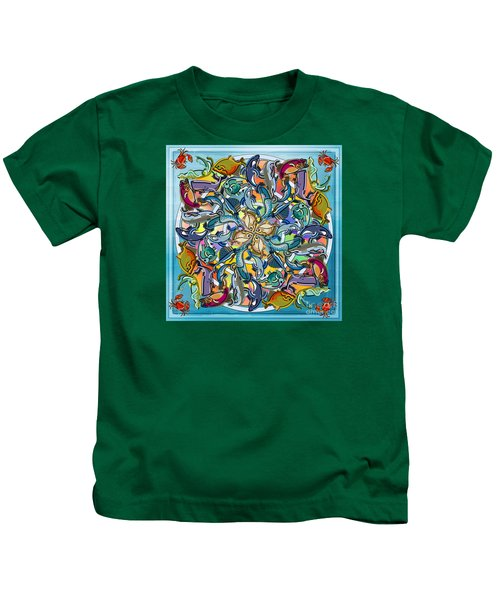 Mandala Fish Pool Kids T-Shirt by Bedros Awak