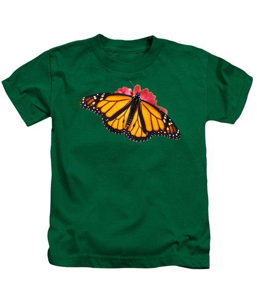 Monarch Butterfly On Red Mums Kids T-Shirt