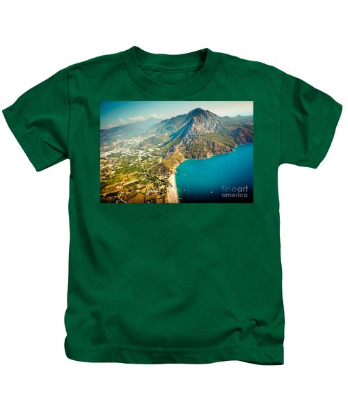 Paragliding Fly Above Laguna Artmif.lv Kids T-Shirt