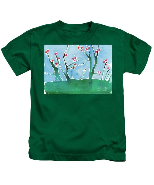 Red Berry Flowers Kids T-Shirt