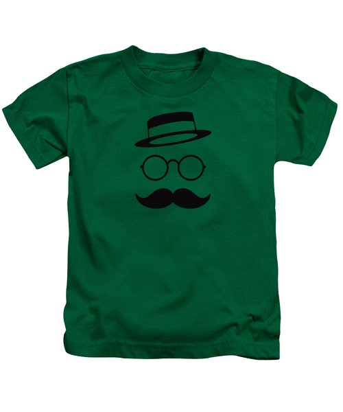 Retro Minimal Vintage Face With Moustache And Glasses Kids T-Shirt by Philipp Rietz