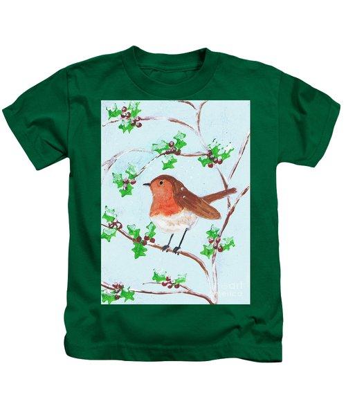 Robin In A Holly Bush Kids T-Shirt