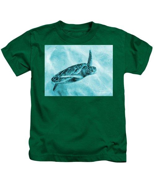 Sea Turtle 2 On Blue Kids T-Shirt
