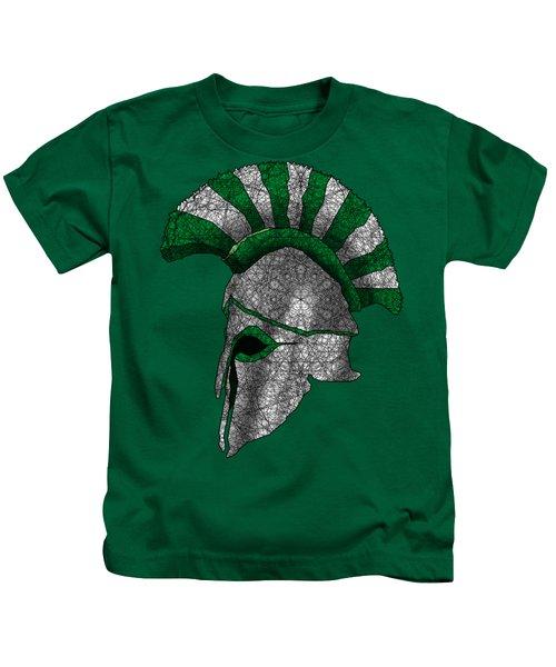 Spartan Helmet Kids T-Shirt by Dusty Conley