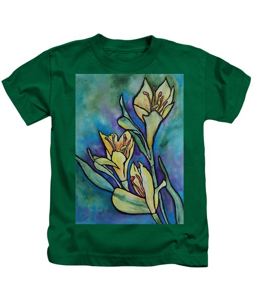 Stained Glass Flowers Kids T-Shirt
