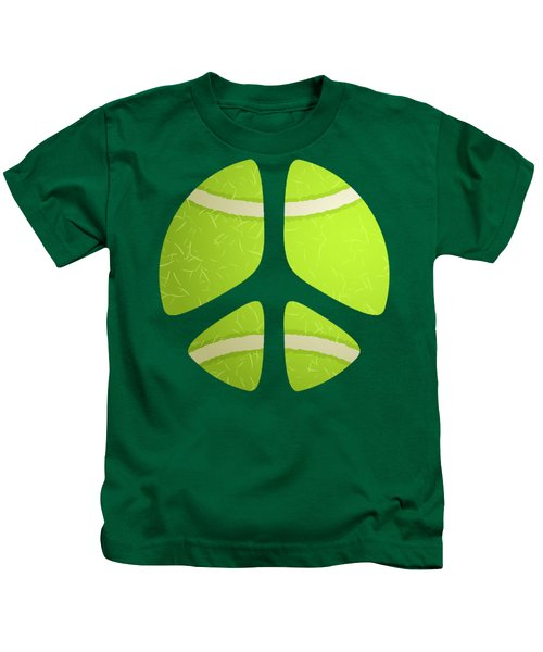 Tennis Ball Peace Sign Kids T-Shirt by David G Paul