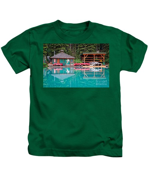 The Boat House At Emerald Lake In Yoho National Park Kids T-Shirt